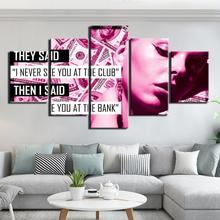 5 Panel Inspirational quote work hard  Painting Canvas HD print Wall 5 piece i never see you at the club I never see you at bank freda stops a bully stuart j murphy s i see i learn series