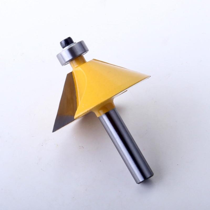 מזגנים רצפתיים 8mm Shank באיכות גבוהה 45 גדולים תואר chamfer & נתב חתוכים Bevel Bit עץ חיתוך פיסות הנתב נגרות כלי (5)