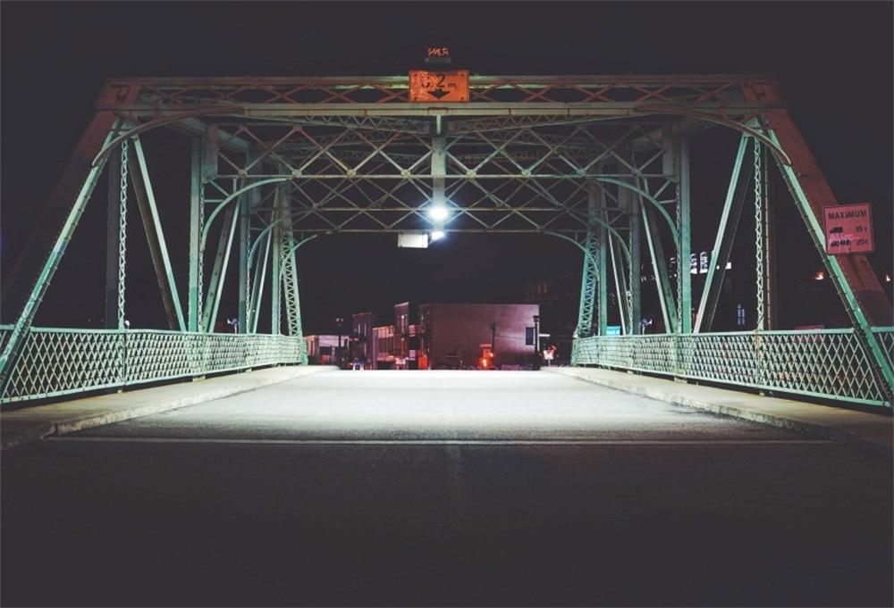 Laeacco автомобиля Checkpoint Сталь мост ночь живописный Фотографическая Фоны Индивидуал ...