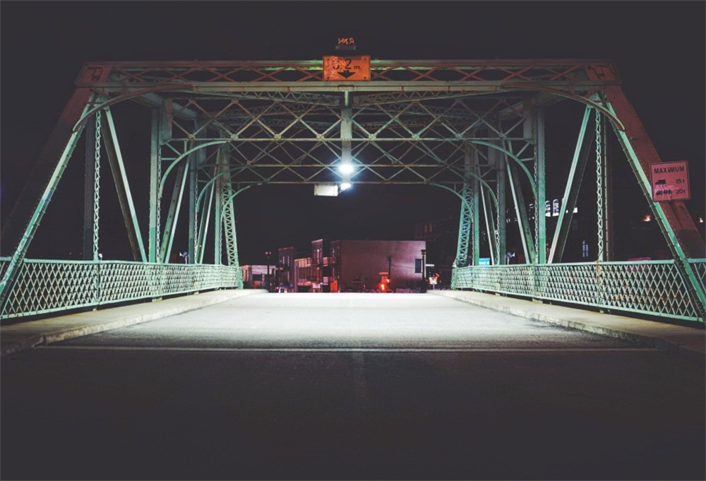 Laeacco Car Checkpoint Steel Bridge Night Scenic Photographic Backgrounds Customized Photography Backdrops For Photo Studio