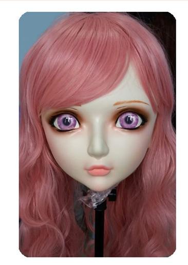Amicable gl036 Women/girl Sweet Resin Half Head Kigurumi Bjd Mask Cosplay Japanese Anime Lifelike Lolita Mask Crossdressing Sex Doll Strengthening Waist And Sinews