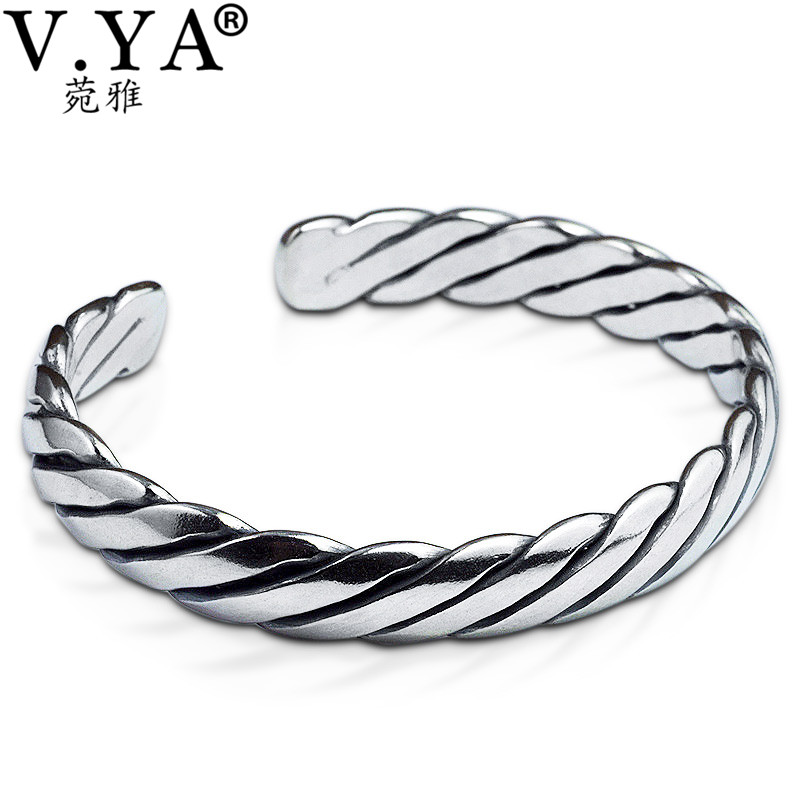 V.YA Vintage Thai Silver Men Bracelets Bangles 925 Sterling Silver Mens Bracelet Bangle Cuff Fine Jewelry 5pcs fashion 925 sterling silver fine jewelry bangle