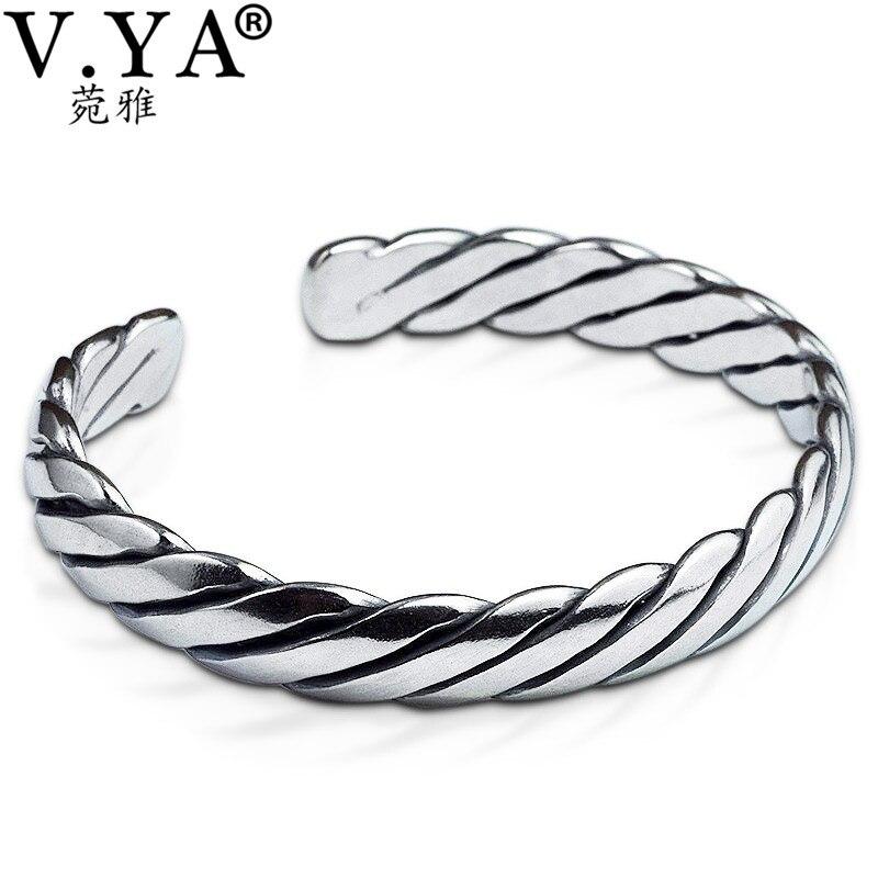 V.YA Vintage Thai Silver Men Bracelets Bangles 925 Sterling Silver Mens Bracelet Bangle Cuff Fine Jewelry