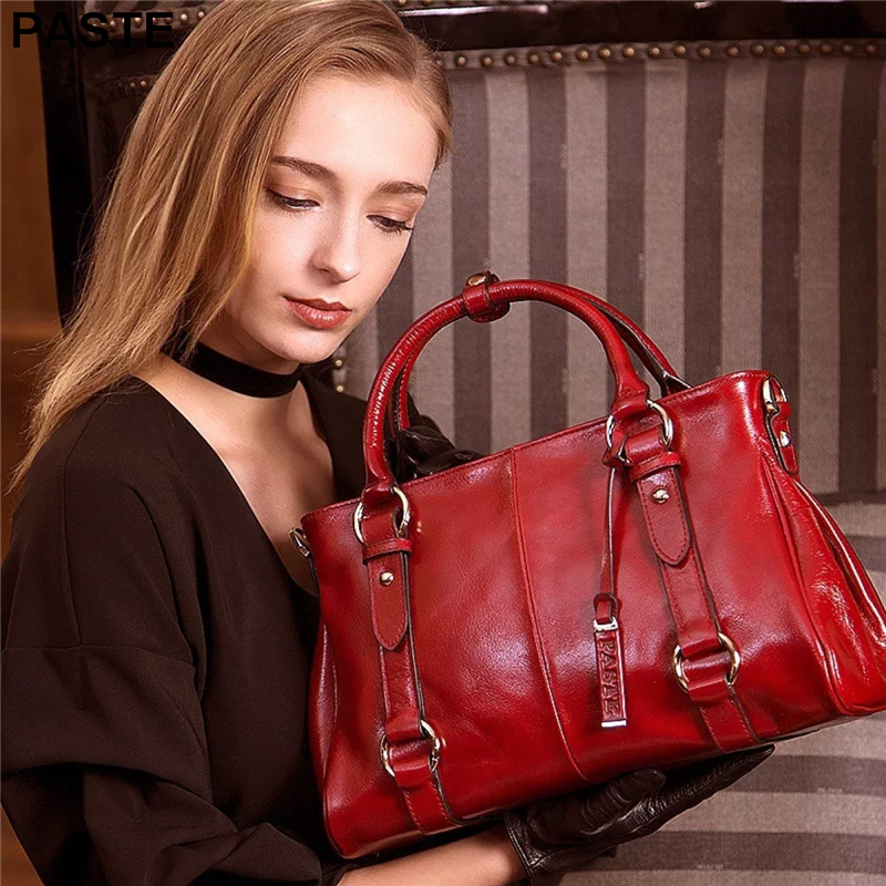 PASTE Brand 100% genuine leather Lady Handbag Women Vintage Shoulder Bags Casual crossbody Tote Bags Sac a Main Bolsas Femininas цена