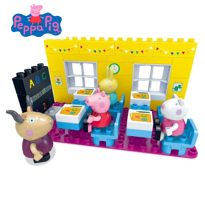 Genuine Peppa Pig Peppa Pigs Classroom / Class Room Playset Construction Set Includes 4 Figures NEW