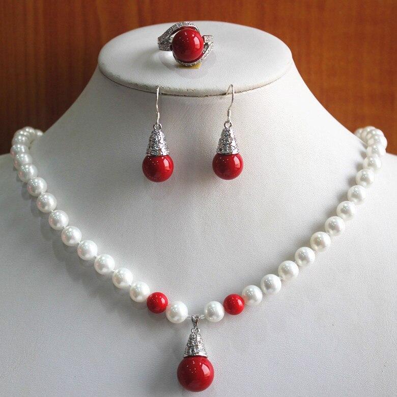 R cadeau d'anniversaire de mariage! Ensemble! vente en gros 8mm blanc et rouge perle collier boucle d'oreille anneau (7/8/9) s keshi réel argent-bijoux