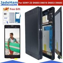 """מקורי 5.2 """"LCD עבור SONY Xperia Z3 תצוגת מסך מגע עם מסגרת עבור SONY Xperia Z3 תצוגה כפולה LCD d6633 D6603 החלפה"""