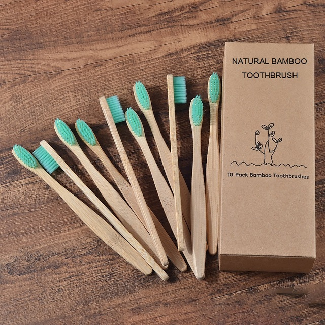 New design mixed color bamboo toothbrush Eco Friendly wooden Tooth Brush Soft bristle Tip Charcoal adults oral care toothbrush 5