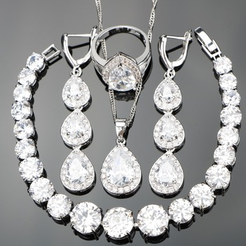 925 Sterling Silver Pure Long Heart Clear Natural White Stones Jewelry Sets