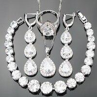 925 Sterling Silber Reinem Lange Herz Klaren Natürlichen Weißen Steinen Schmuck Sets Für Frauen Armbänder/Ohrringe/Anhänger/halskette/Ringe