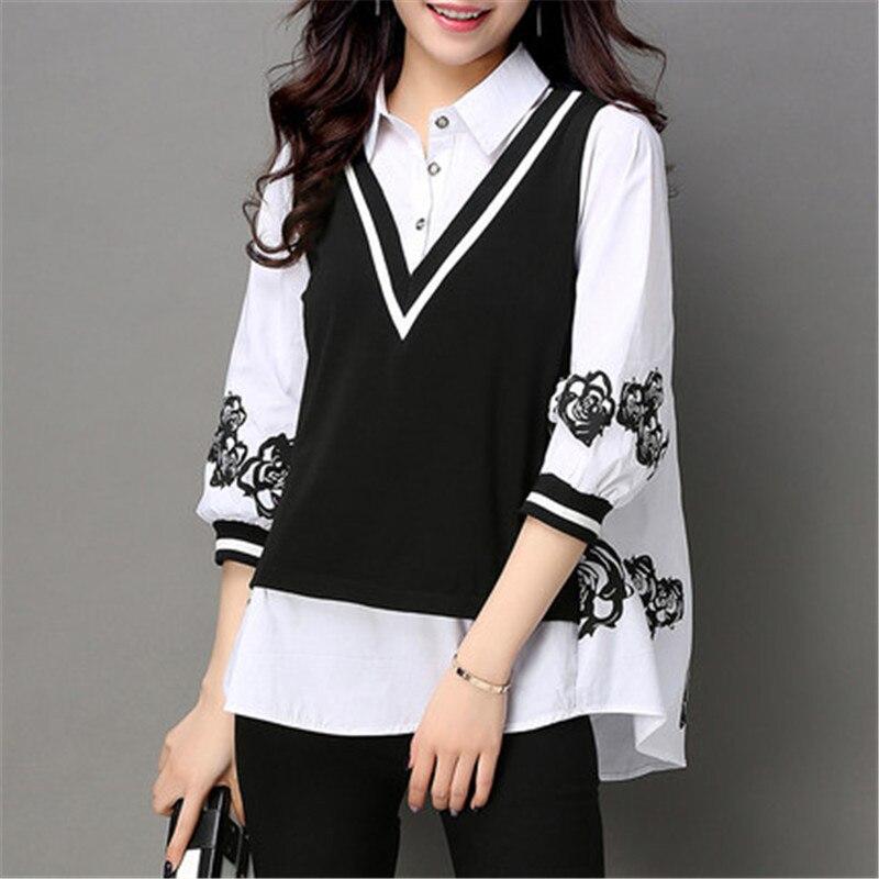 2019 Nouveau Printemps Été Grande Taille Chemise Femmes Coréen Lâche Sept-trimestre Manches Imprimer Blouse hauts v597
