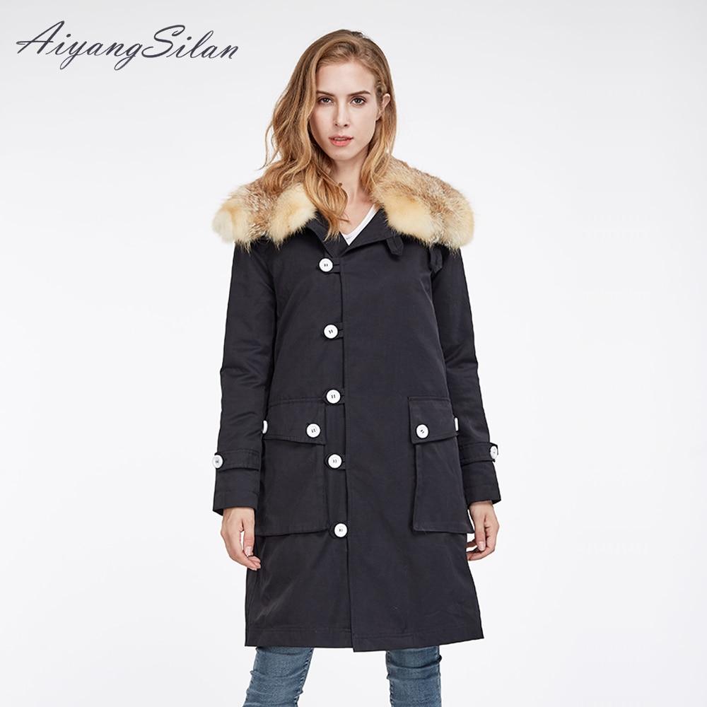 AiyangSilan Natural Red Fox Fur Liner Parka Women Real Fur Coat with Fox Fur Collar Detachable Linning Long Design for Woman Fur