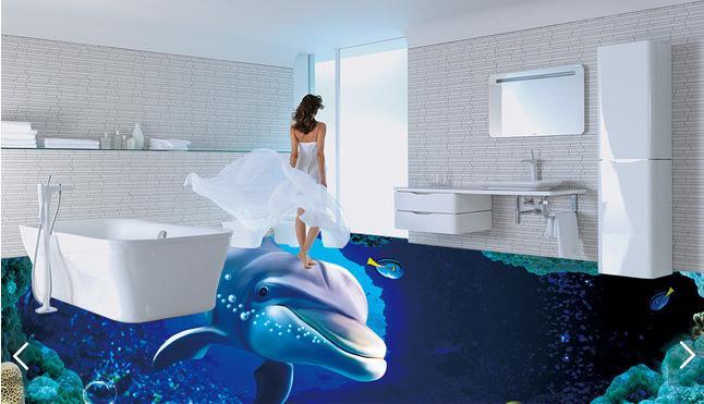 ФОТО customize 3d wallpaper flooring pvc ocean 3d wall murals wallpaper dolphin wallpaper for walls for floor self adhesive wallpaper