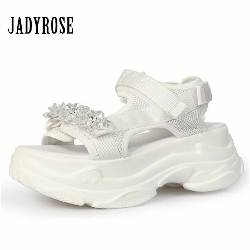 Jady Rose Mesh Women Sandals Female Casual Creepers Breathable 7CM Heel Wedge Shoes Woman Summer Beach Shoes Sandalias Mujer jady rose 2018 new women slippers square toe female sandals summer high heel slipper gladiator sandalias mujer wedge shoes woman