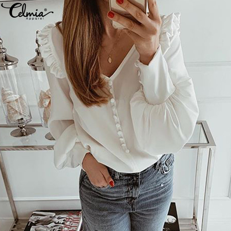 Autumn Women Shirts Blouses 2020 Celmia Sexy V Neck Long Sleeve Casual Solid Ruffled Tunic Top Button Plus Size Blusas Femininas