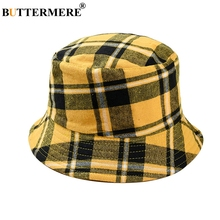 BUTTERMERE Reversible Bucket Hat Women Yellow Plaid Folding Fishing Hat Men Cotton Casual Female Colored Spring Male Bob Hats