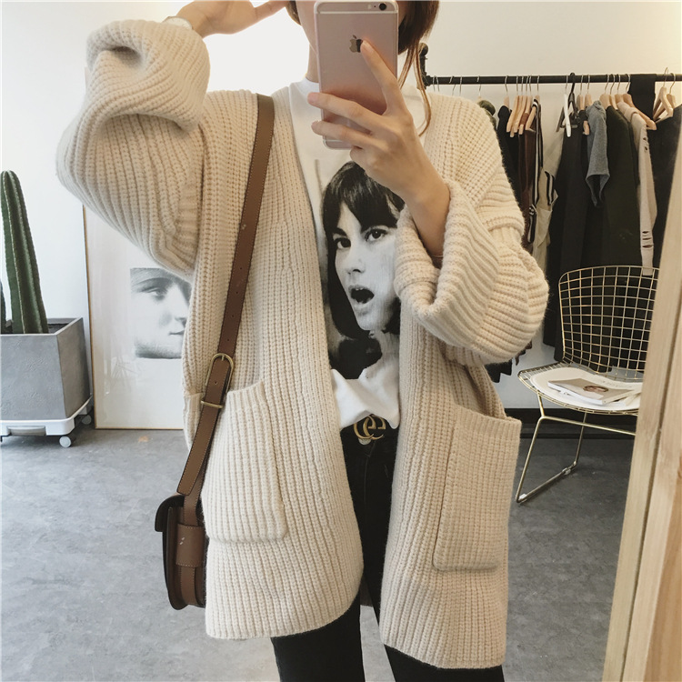 2018 Early Autumn New Women Loose Thin Long-sleeved Retro Twist Knit Students Long-sleeved Sweater Cardigan Jacket Female