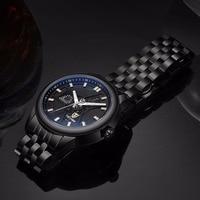Tevise Mannen Zwart Rvs Automatische Mechanische Horloge Lichtgevende Analoge Heren Skeleton Horloges Topmerk Luxe 9008G