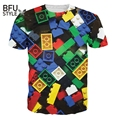 Hipster Fashion Dirty Sprite/Unicorn Summer Style Lego Brick T-Shirt Children Toy Women Men Plus Size 3D Print T Shirt Camisetas