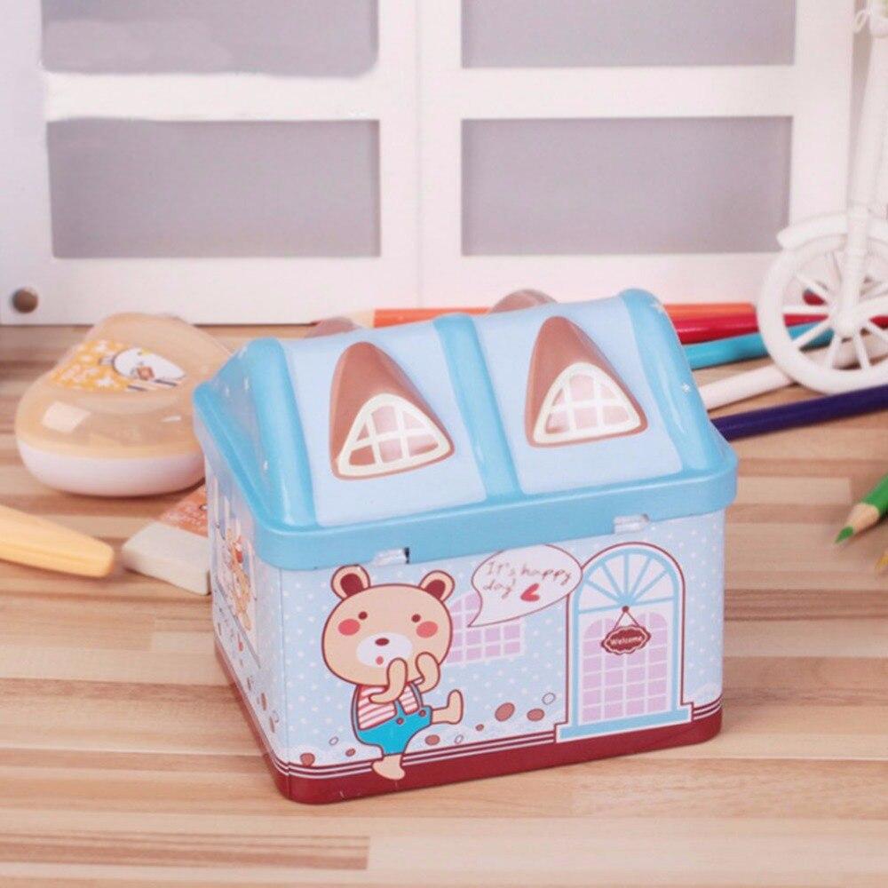 Money Box Cartoon Small Tin House Coin Box for Money Cute Piggy Bank Safe for money Saving Bank Best Gift for Children Kids