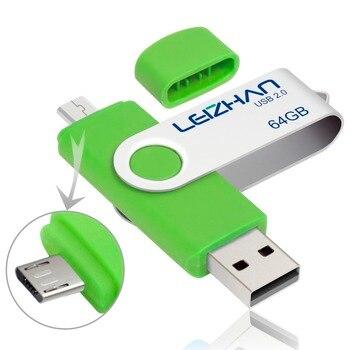 LEIZHAN 2pcs OTG USB Flash Drive 128gb smartphone pendrive usb stick 32gb 64gb 16gb micro pen drive 8gb 4gb usb 2.0 memory stick