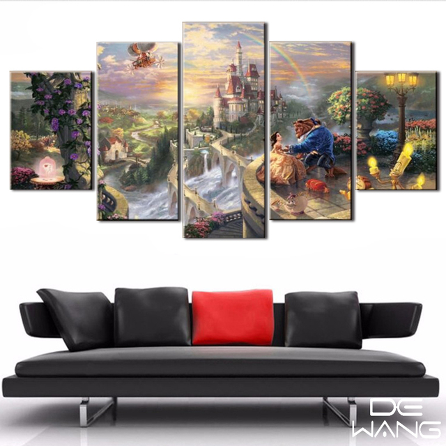 5 Panel Canvas Art Unframed Wall Art Picture Fairy Tale Beauty And ...