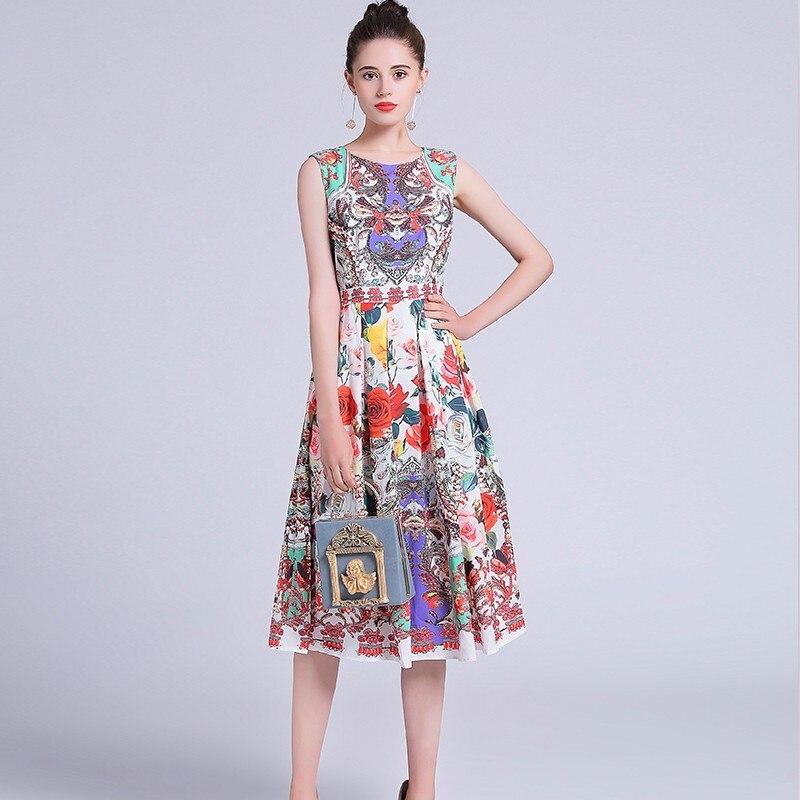 2019 nouveau été européenne femme O cou sans manches taille slim mi-longue robe vintage imprimé floral douce fille mode fête reine