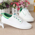 Women white canvas shoes brand 2016 new spring shoes woman big size ladies casual slip on loafers platform breathable flat shoes