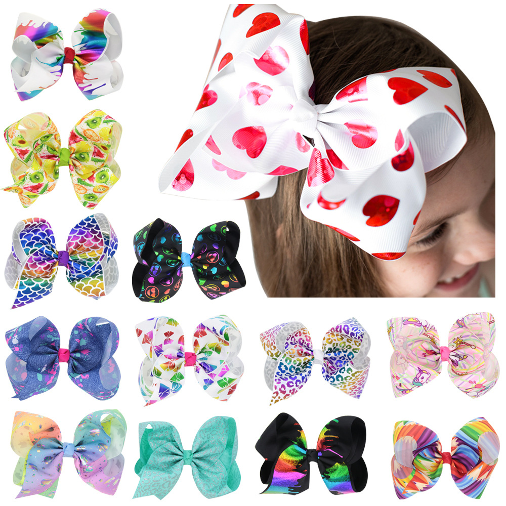 8 Inch Large Bow Hair Clip Unicorn Heart JOJO Hair Bows Bow Clips Children Girls   Headwear   Hair Accessories