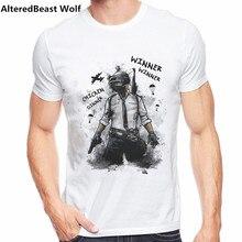 Лидер продаж года; футболки Playerunknown's Battlegrounds PUBG Winner Chicken Dinner белые футболки с круглым вырезом и короткими рукавами