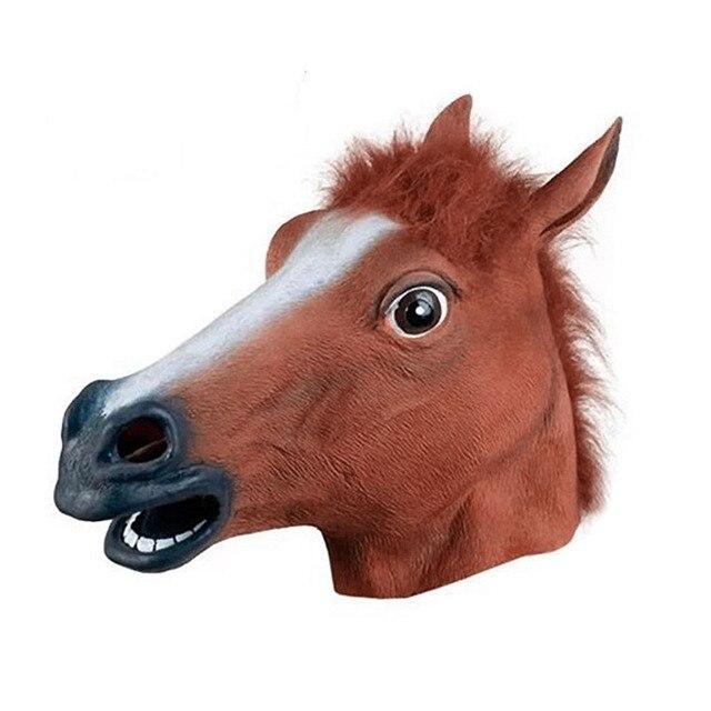 Реалистичная голова лошади маски полная голова мех грива латексный жуткий маска животного для Хэллоуина вечеринка костюм реквизит для Прямая поставка