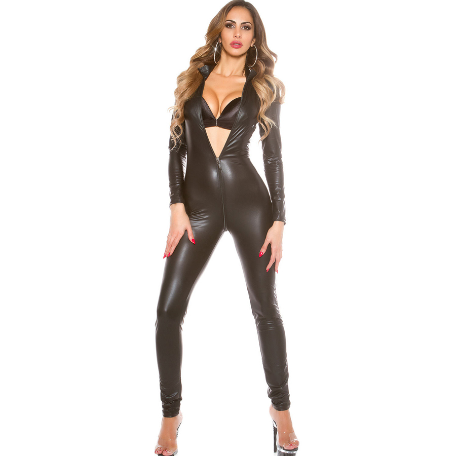 Black Red Plus Size latex jumpsuit Catsuit Long Sleeve Leather Playsuit Overall Nightclub bodysuit Sexy Lingerie Zentai Costume
