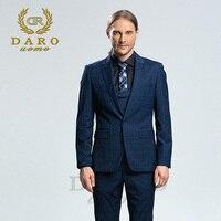 DARO 2018 New Men Suit 3 Pieces Fashion Plaid Suit Slim Fit Navy Blue Grey Wedding