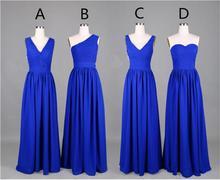 2016 Royal Blue V Neck Bridesmaid Dresses Chiffon A Line Floor Length Plus Size De Casamento