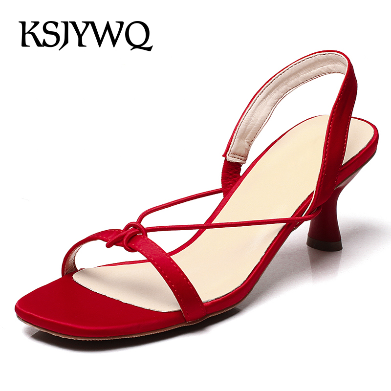 KSJYWQ Open-toe Leather Women Sandals 6.5 CM High Heels Summer Style Dress Pumps Casual Party Shoes Woman Box Packing TX1155 vankaring new sandals shoes women cruare strange style low heel open toe summer woman black dress party casual sandals slipper