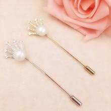 Unisex Zircon Crown Broche Pin de Lapela Pérola Simulada Terno Vara Broches Pinos Acessórios Para Festa de Casamento