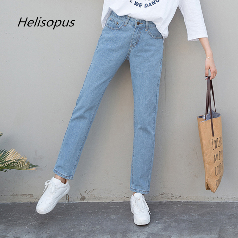 Helisopus Autumn Winter Women Loose Harem Pants High Waist Casual Boyfriend Denim   Jeans   Female Trousers Streetwear Plus Size