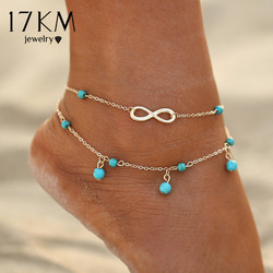 17km new double infinite beads pendant anklet foot chain summer bracelet charm 2 color anklets foot.jpg 250x250