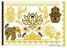 A6080-002-V2 Gold Golden Tatuagem Taty Body Art Temporary Tattoo Stickers Thailand Style Elephant Lotus Glitter Tatoo Sticker