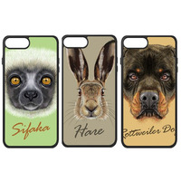 Hound Dog Animal Cat Monkey Bear Cattle Rabbit Squirrel Horse Deer Paint Phone Case For IPhone