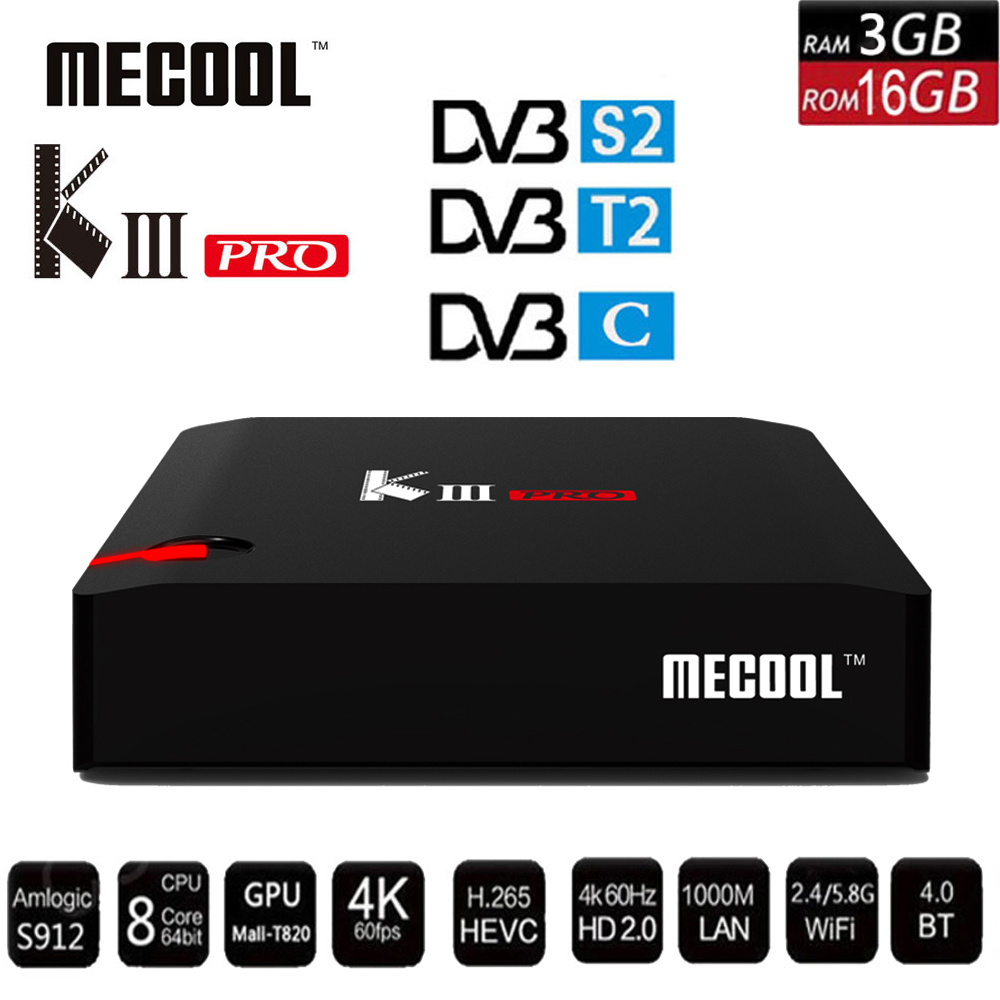 MECOOL KIII PRO DVB-S2 DVB-T2 DVB-C Android 7.1 TV Box 3GB 16GB K3 Pro Amlogic S912 4K BT4.0 Support 2.4G/5G WIFI CCCAM IPTV цена