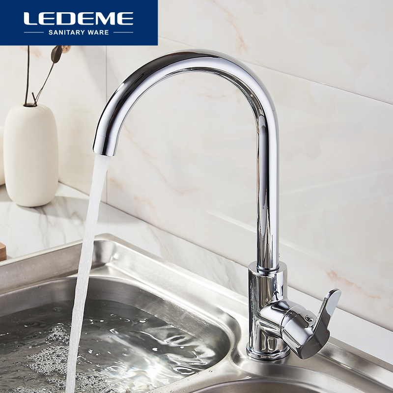 LEDEME Newly Arrived Kitchen Faucet Brushed Sink Mixer Tap 360 Degree Rotation Brass Kitchen Faucets Hot And Cold L4003