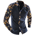 2015 new Men's Clothing  splice Shirts male flower colorant match trend long-sleeve shirt perfect slim leisure hot selling