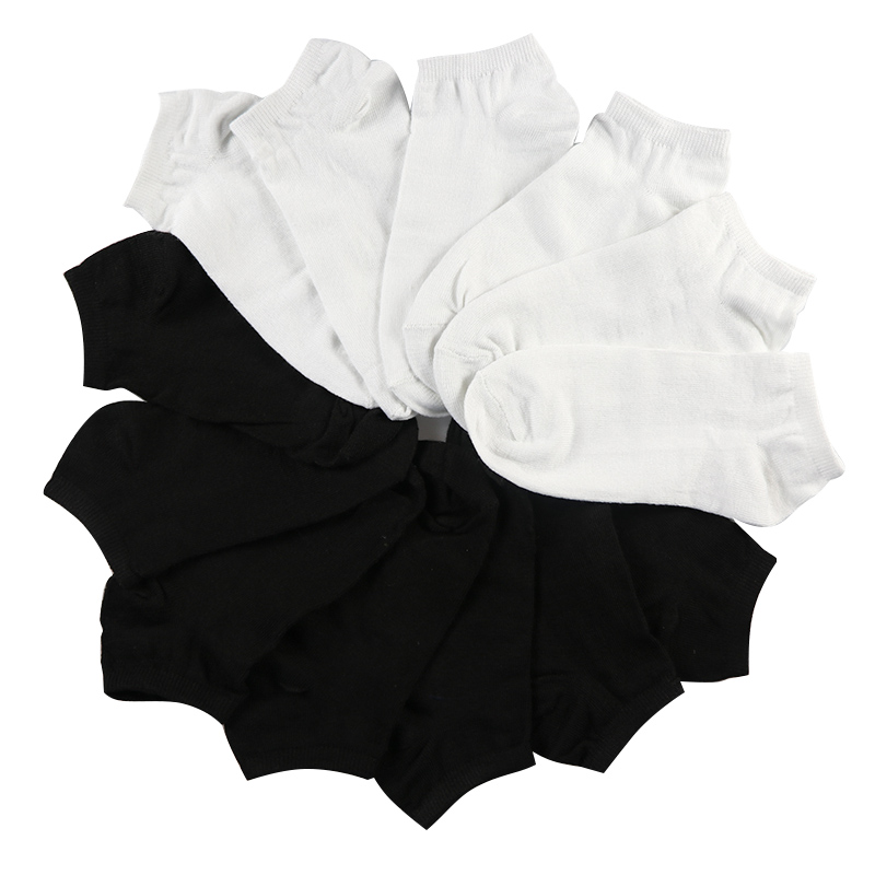 7Pairs Women   Socks   Breathable   Socks   Solid Color Boat   socks   Comfortable Cotton Ankle   Socks   White Black ~