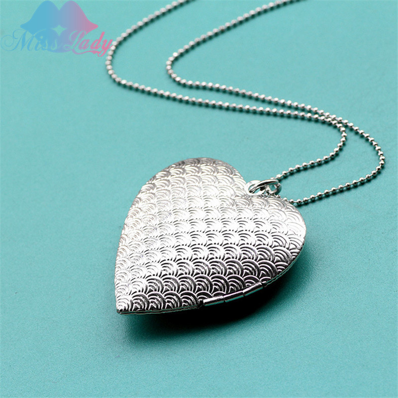 Creative hearts necklace pocket cloudy patterns photo open close fashion Pendant love Necklace for women MLA1010