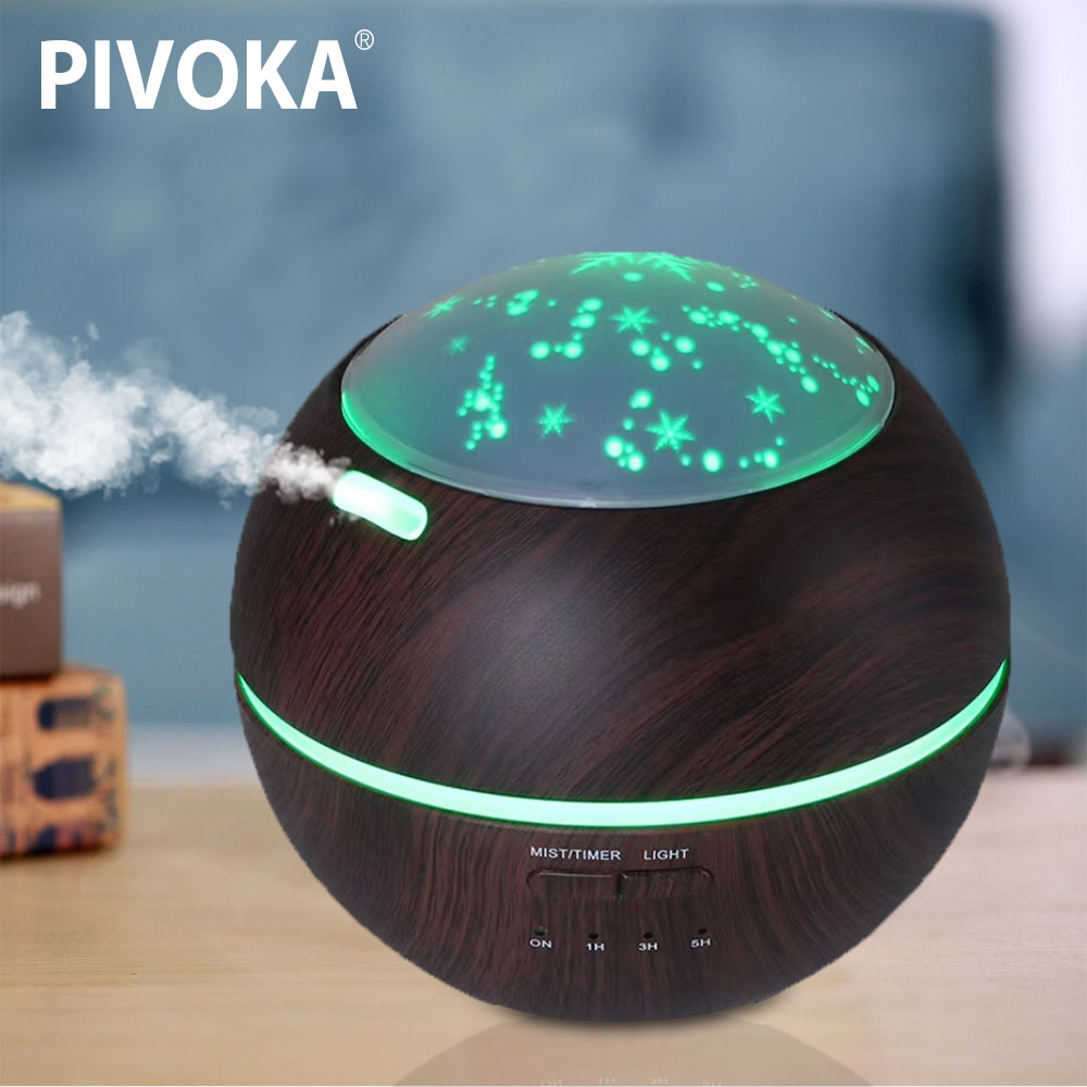 PIVAKA Star Time Home Air Humidifier And Aroma Diffuser Ultrasonic Silent Aroma Dust Humidifier 7 Color LED Night Light
