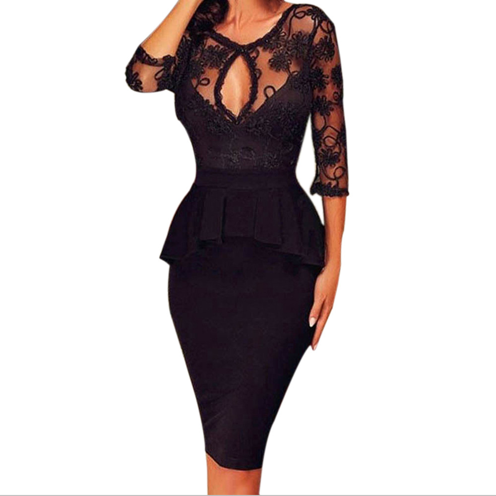 Womens Elegant Black Dress Hollow out Special Occasion Vestidos Lace Floral Casual Party Pencil Fitted Bodycon Office Dress EY11