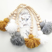 Wood Bead Hanging Plush Ball Tassels Room Game tent decoration Pendant Nordic INS Wall ornaments Toy Kids Christmas Gift