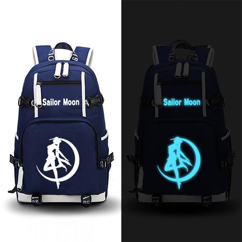 High Quality Anime Sailor Moon Luminous Backpack Men Women Printing School Shoulder Bags Laptop Backpacks Travel Bags