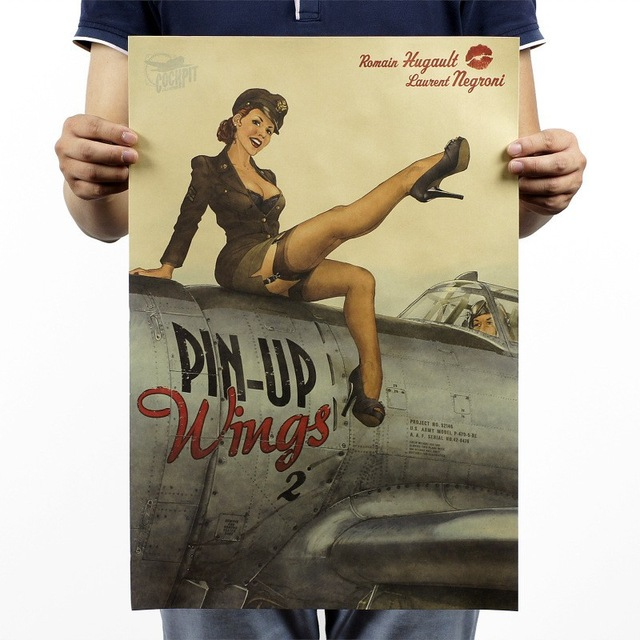 sexy pin up girls of world war ii vintage bar complex old posters posters of decorative painting. Black Bedroom Furniture Sets. Home Design Ideas